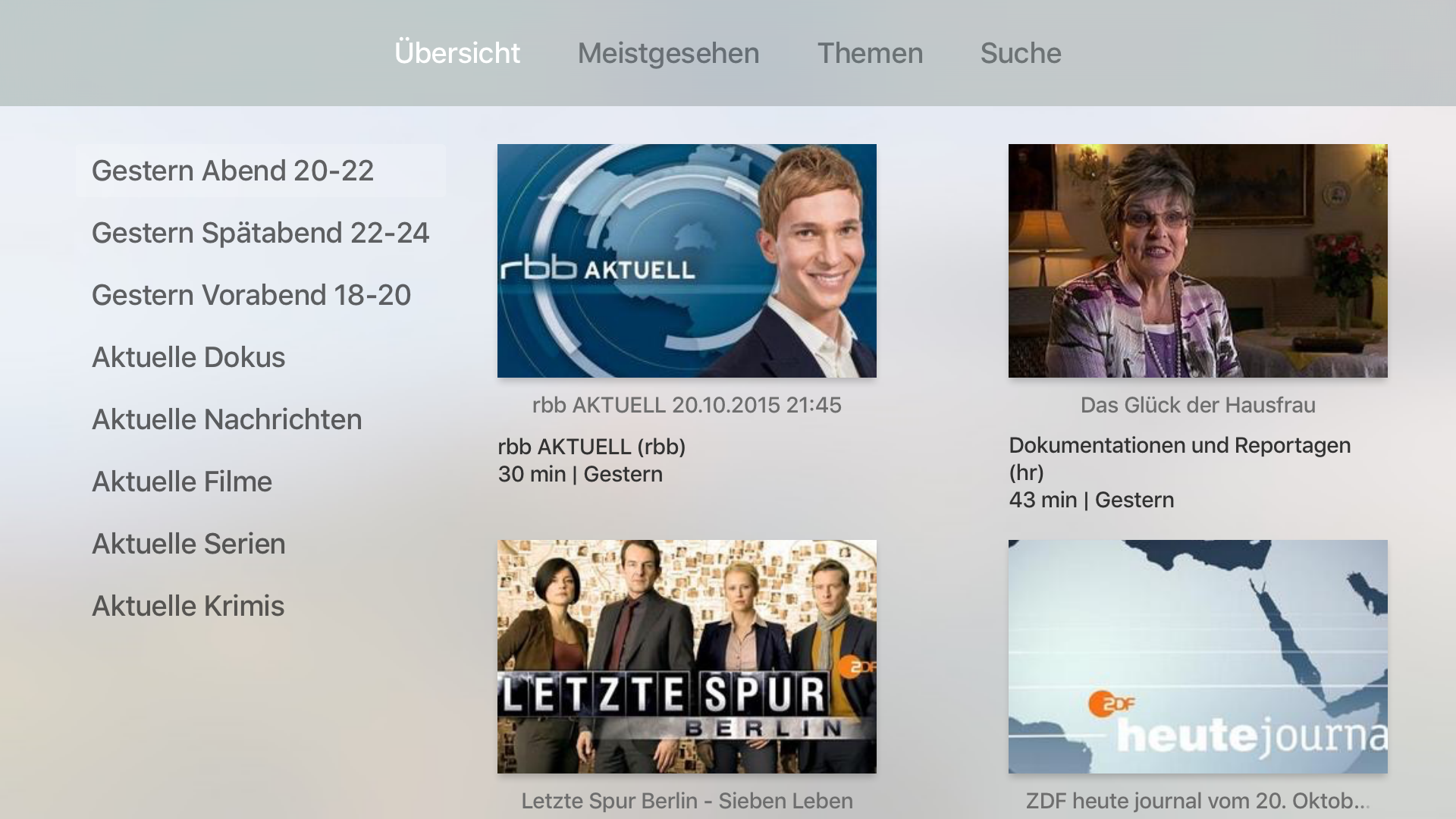 Screenshot Mediathekensuche tvOS App - Apple TV