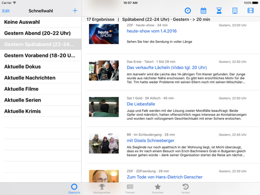 Screenshot Mediathekensuche iPad App - UI